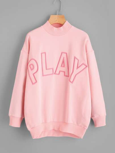 Drop Shoulder Embroidered Sweatshirt