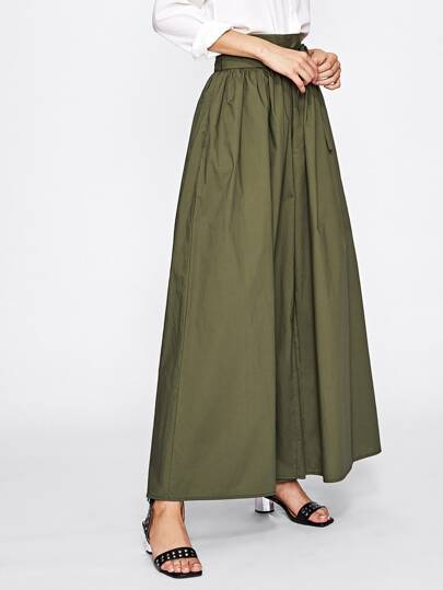 Pantalones con pernera super ancha con cordón