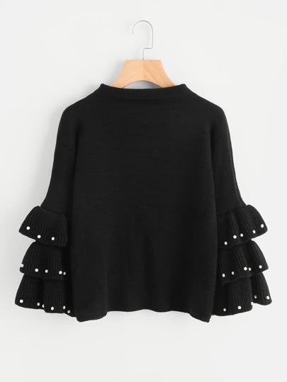 Pullover mit mehrlagigen Glockärmeln und Perlen