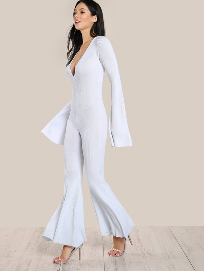 Ribbed Flare Hem Jumpsuit WHITE