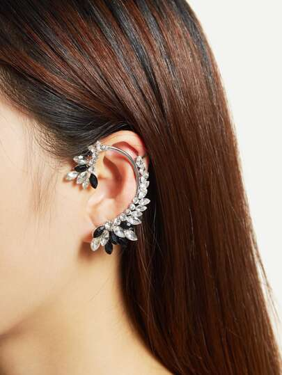 Two Tone Rhinestone Decorated Ear Climber 1pc