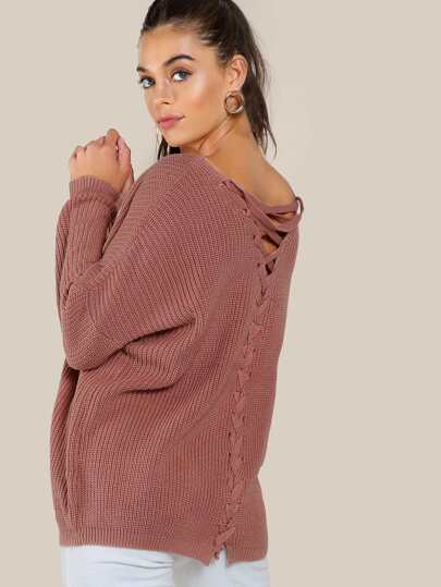 Back Braided Knitted Top PINK