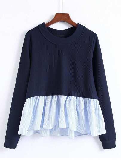 Pinstriped Frill Hem Babaydoll Sweatshirt