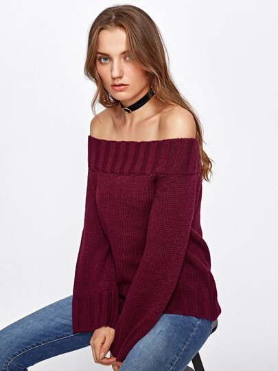 Ribbed Trim Bardot Jumper