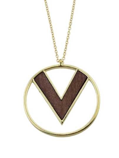 V-type round pendant fashion necklace