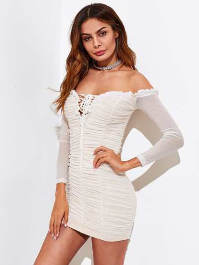 Bardot Lace Up Front Frill Trim Ruched Dress
