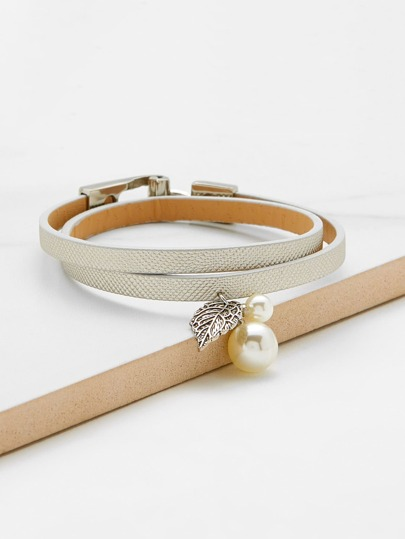 Faux Pearl Detail Double Layer PU Bracelet