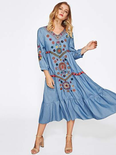 Contrast Fringe Trim Embroidered Frill Hem Chambray Dress