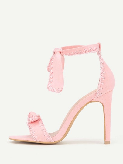 Knot Design Stitch Detail Stiletto Heeled Sandals