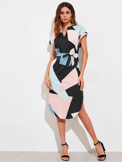 V Cut Geo Print Slit Side Curved Hem Dress