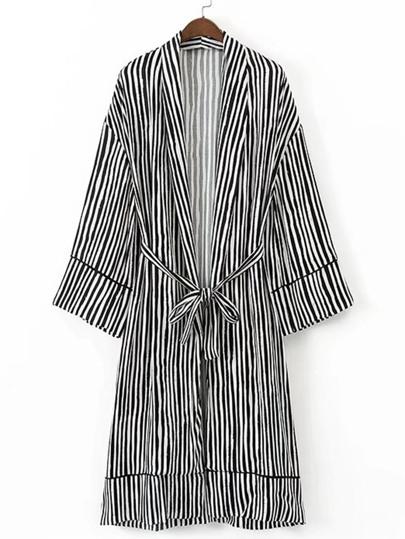 Kimono largo de rayas verticales con lazo