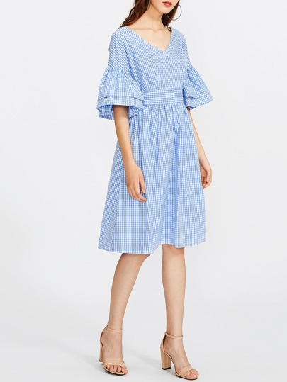 Double V Neck Tiered Bell Sleeve Gingham Dress