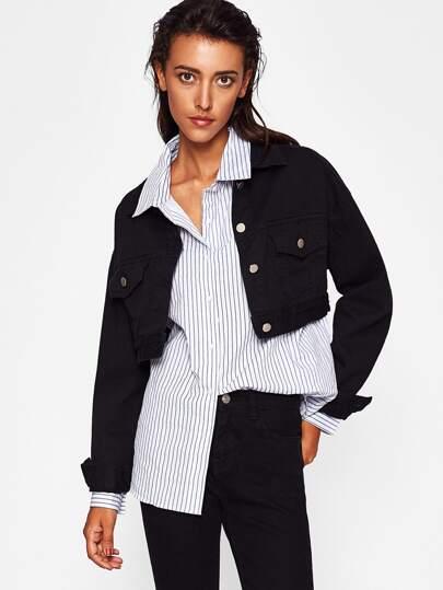 Crop Jeans Jacke mit Tasche vorn