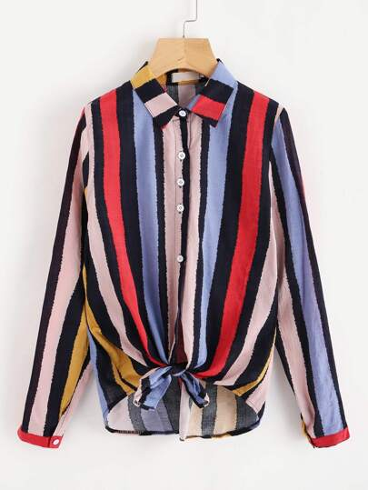 Multi Stripe Knotted Hem Shirt