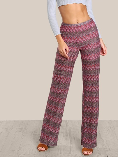 Chevron Stripe Multi Color Pants RED