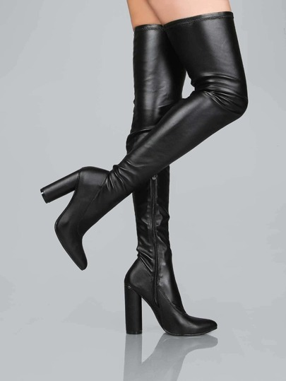 Cylinder Heel Faux Leather Thigh Boots BLACK