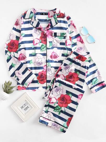 Conjunto de pijama con bolsillo en la parte delantera