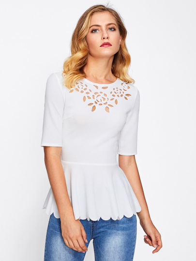 Laser Cut Neck Scallop Hem Textured Peplum Blouse