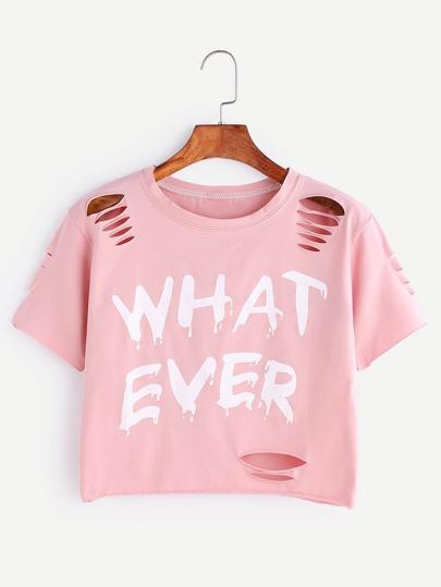 Camiseta corta con rotura con estampado de letra