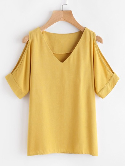 V Neckline Open Shoulder Blouse