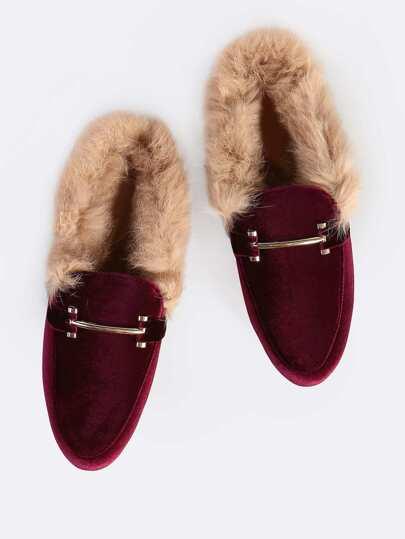 Fur Lined Velvet Loafers BORDEAUX