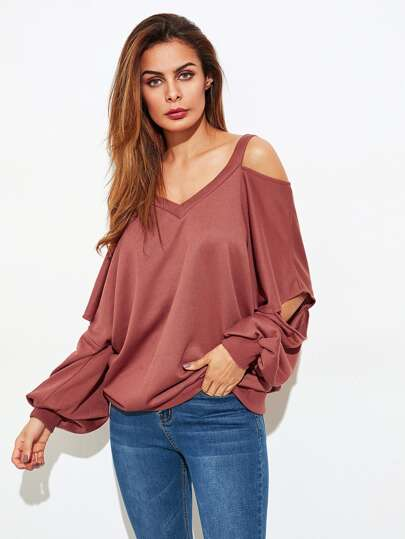 Open Shoulder Cut Out Sleeve Sweatshirt