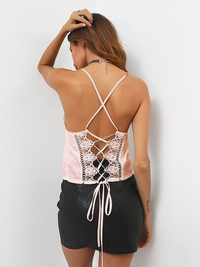 Crochet Panel Lace Up Back Cami Top