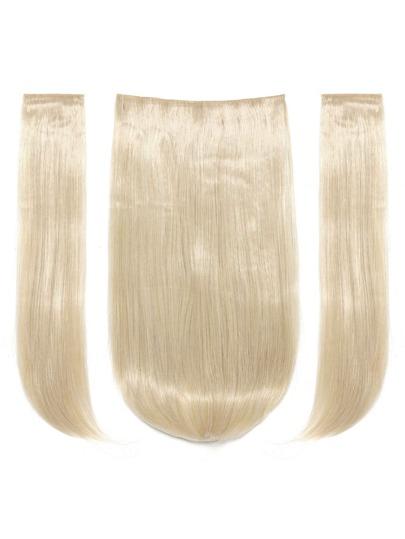 3 piezas de trama de pelo recto rubio claro
