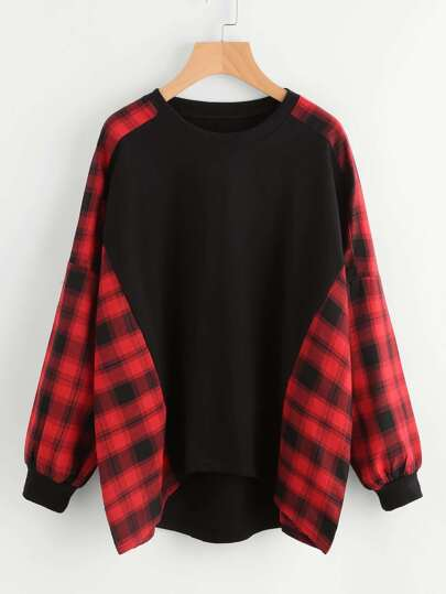 Contrast Tartan Drop Shoulder Dip Hem Sweatshirt