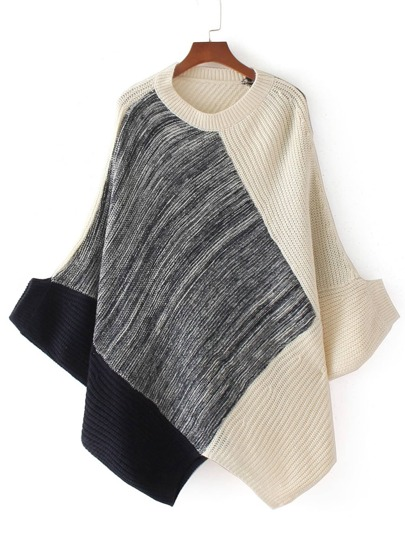Color Block Asymmetrical Poncho Sweater