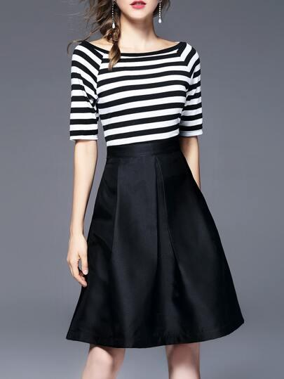 White And Black Striped Dress