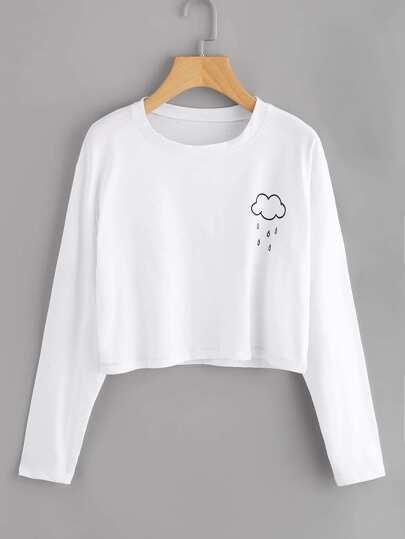 T-Shirt mit Regenmuster