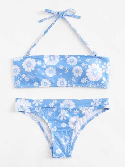 Calico Print Bandeau Bikini Set