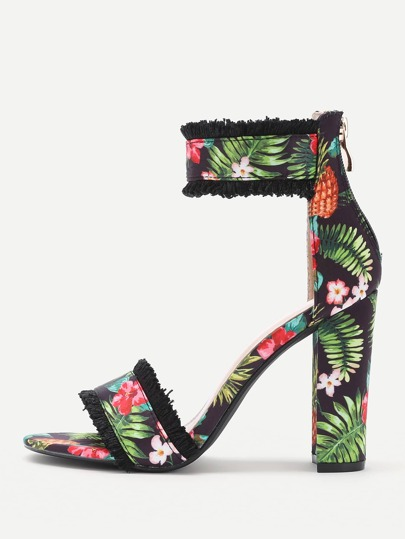 Flower Print Two Part Block Heeled Sandals