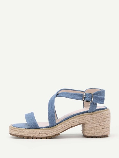 Cross Strap Denim Woven Sandals