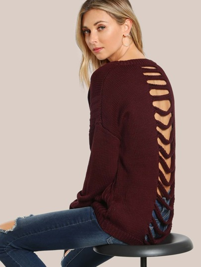 Open Back Cutout Ribbed Sweater WINE