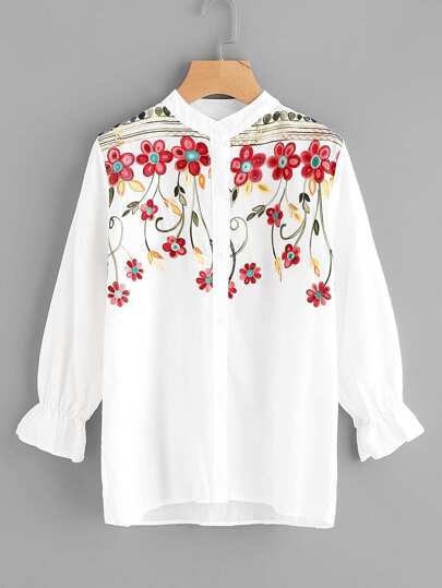 Embroidery Frill Cuff Blouse