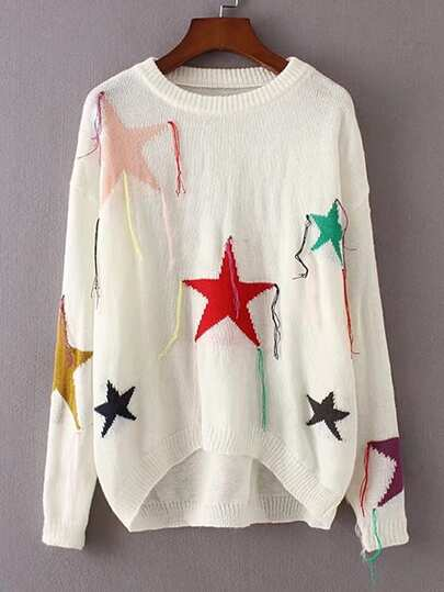 Star Pattern Fringe Trim High Low Sweater