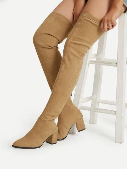 Back Zipper Thigh High Suede Boots