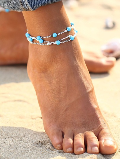 Contrast Beaded Design Chain Bracelet/Anklet