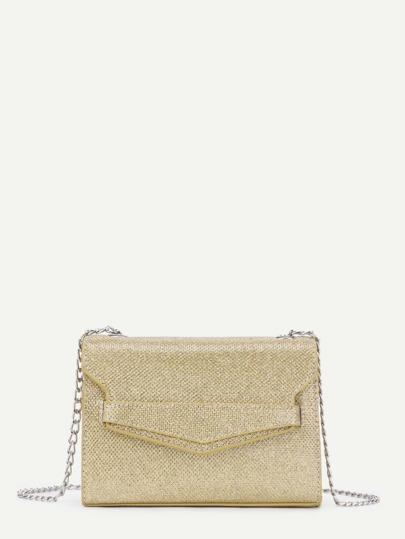 Plain Mini PU Chain Crossbody Bag