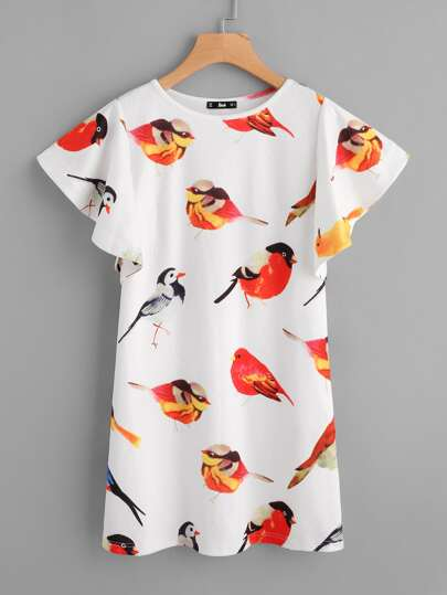 Allover Birds Print Flutter Sleeve Dress