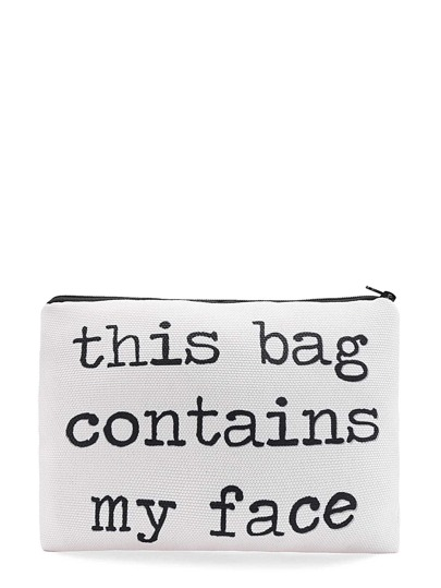 Slogan Print Zipper Cosmetic Bag