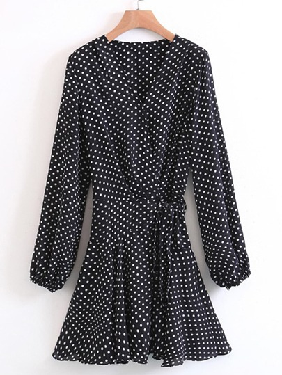 Polka Dot Tie Waist Wrap Dress
