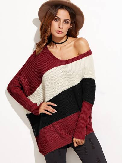 Color Block Dolman Sleeve Asymmetric Jumper