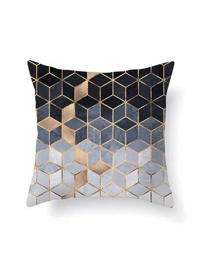 Ombre Geometric Print Pillowcase Cover