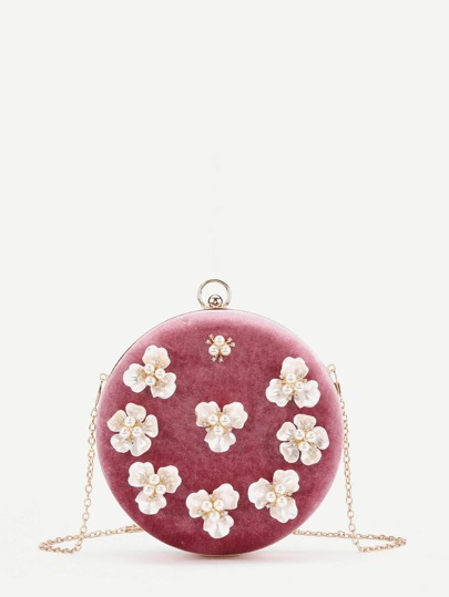 Faux Pearl Flower Decorated Round Velvet Chain Bag