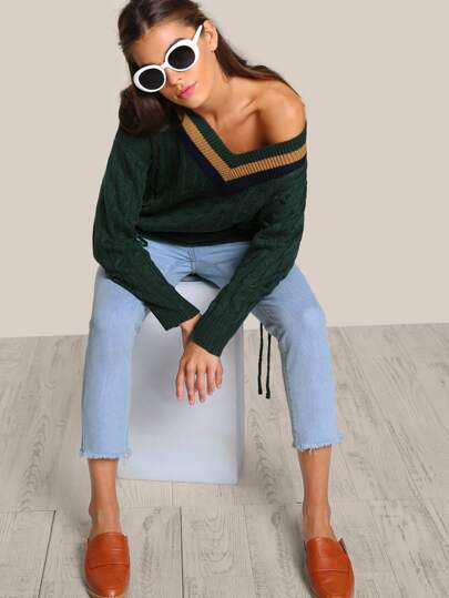 Lace Up Knitted Sweater HUNTER GREEN