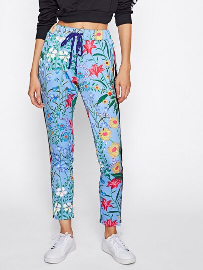 Botanical Print Vented Striped Side Sweatpants