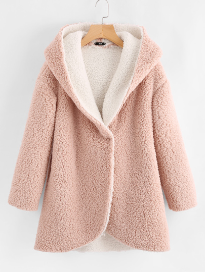 Curved Hem Sherpa Fleece Hoodie Coat